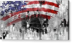 Acrylic Print featuring the painting Washington Dc Building 01a by Gull G