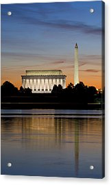Washington Dc From The Potomac River Acrylic Print by Brendan Reals