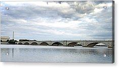 Washington Dc Memorial Bridge Panorama Acrylic Print by Brendan Reals