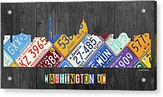 Washington Dc Skyline Recycled Vintage License Plate Art Acrylic Print by Design Turnpike