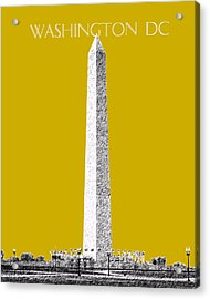 Washington Dc Skyline Washington Monument - Gold Acrylic Print by DB Artist