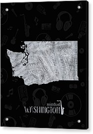 Washington Map Music Notes 2 Acrylic Print