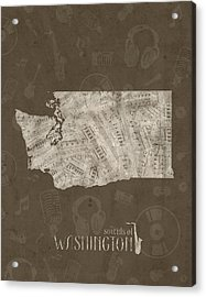 Washington Map Music Notes 3 Acrylic Print