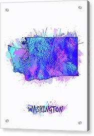 Washington Map Watercolor 2 Acrylic Print