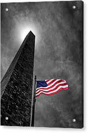 Washington Monument And The Stars And Stripes Acrylic Print by Andrew Soundarajan
