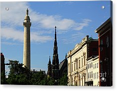 Washington Monument And United Methodist Church Spire Baltimore Acrylic Print