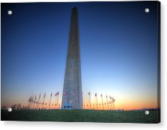 Acrylic Print featuring the photograph Washington Monument At Sunset by Shelley Neff