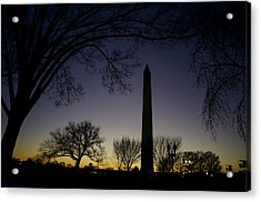 Washington Monument At Twilight With Moon Acrylic Print