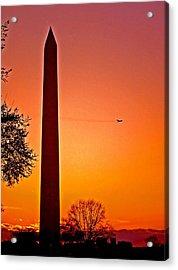 Washington Monument With Airplane Acrylic Print