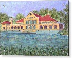 Washington Park Lakehouse Acrylic Print by David Hinchen
