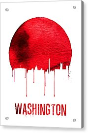 Washington Skyline Red Acrylic Print by Naxart Studio