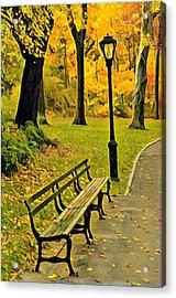 Washington Square Bench Acrylic Print