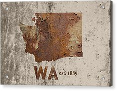 Washington State Map Industrial Rusted Metal On Cement Wall With Founding Date Series 042 Acrylic Print by Design Turnpike