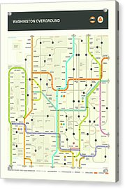 Washington State Map Acrylic Print by Jazzberry Blue
