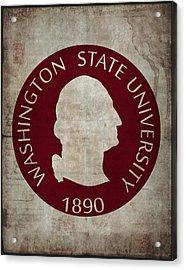 Washington State University Seal Grunge Acrylic Print by Daniel Hagerman