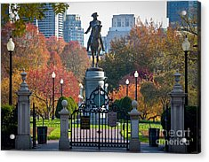 Washington Statue In Autumn Acrylic Print by Susan Cole Kelly