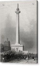 Washingtons Monument Baltimore Usa Acrylic Print by Vintage Design Pics