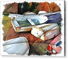 Acrylic Print featuring the photograph Wat-0012 Tender Boats by Digital Oil