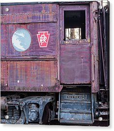 Watch Your Step Vintage Railroad Car Acrylic Print by Terry DeLuco
