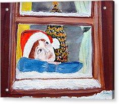 Watching For Santa Acrylic Print by Cathy Jourdan