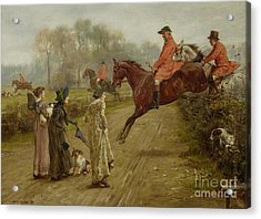 Watching The Hunt Acrylic Print by George Goodwin Kilburne