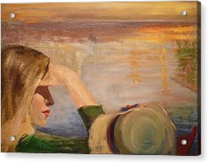 Watching The Sails Acrylic Print by Irena  Jablonski