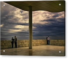 Watching The Storm At The Getty Acrylic Print by Lynn Andrews