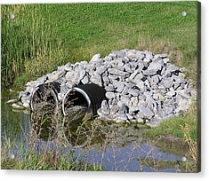 Water And Culverts Acrylic Print by Richard Mitchell