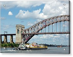 Hell Gate Bridge And Barge Acrylic Print