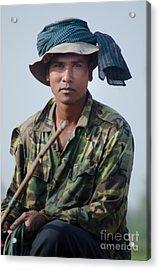 Water Buffalo Driver In Cambodia Acrylic Print
