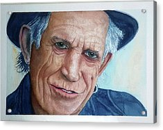 Water Color Keith Richards Acrylic Print