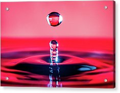 Water Drop In Red Acrylic Print