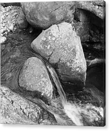 Water Flowing Around Rock  Baxter State Park Maine Acrylic Print by Richard Singleton