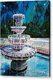 Water Fountain Acrylic Painting Art Print Acrylic Print by Derek Mccrea