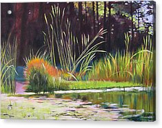 Water Garden Landscape Acrylic Print by Melody Cleary
