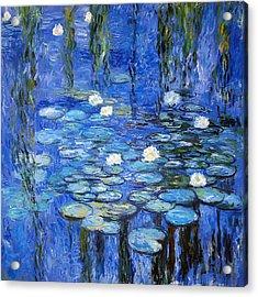 water lilies a la Monet Acrylic Print by Joachim G Pinkawa