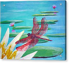 Water Lilies And Dragonfly Acrylic Print by Susan Kubes