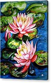 Water Lilies  Acrylic Print by Harsh Malik