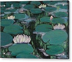 Water Lilies In Hawaii Acrylic Print by Zanobia Shalks