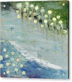 Acrylic Print featuring the painting Water Lilies by Michal Mitak Mahgerefteh