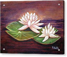 Acrylic Print featuring the painting Water Lilies by Patricia Piffath