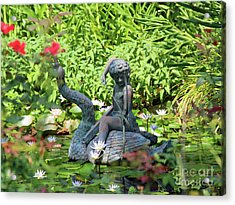 Water Lilly Pond Acrylic Print by Inspirational Photo Creations Audrey Woods