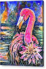 Acrylic Print featuring the painting Water Lily And Flamingo by Zaira Dzhaubaeva
