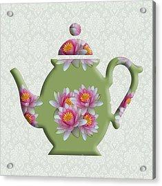 Water Lily Pattern Teapot Acrylic Print