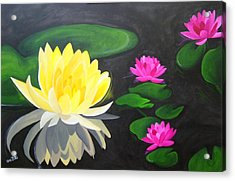 Water Lily Pond  Acrylic Print by Una  Miller