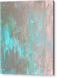 Water On Copper Acrylic Print by T Fry-Green