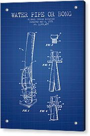 Water Pipe Or Bong Patent 1975 - Blueprint Acrylic Print by Aged Pixel
