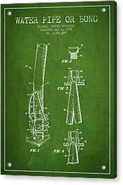 Water Pipe Or Bong Patent 1975 - Green Acrylic Print by Aged Pixel