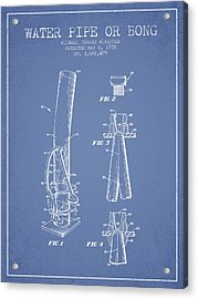 Water Pipe Or Bong Patent 1975 - Light Blue Acrylic Print by Aged Pixel