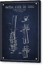 Water Pipe Or Bong Patent 1975 - Navy Blue Acrylic Print by Aged Pixel